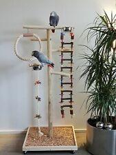 FREISITZ aus HOLZ Papageienfreisitz mit HÄNGEBRÜCKE 1,40 Papageienspielzeug