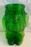 """Vintage Mr. Peanut 10"""" Tall Emerald Green Glass Cookie Treat Snack Vase Jar"""