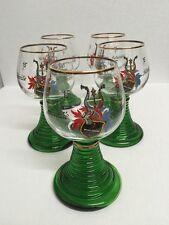 Vintage German Set Of 5 Wine Glasses Hand Blown Hand Painted.