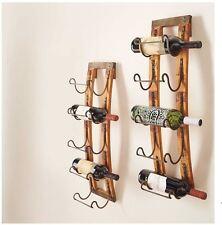 5 Bottle Wall Hanging Wine Rack Storage Holder Wood Metal Rustic Kitchen Decor