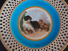 Antique c 1879 Minton~Henry Mitchell~Dogs by Doghouse~Reticulated Cabinet Plate