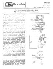 "Delta Rockwell No. 1380 Raising Mechanism for 17"" Drill Press Instructions"