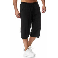 Hombre 3/4 Largo Cintura Elástica Pantalones Cortos Corredor Tres Cuartos de