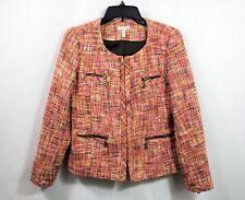 Madison Womens Blazer Tweed Pink Brown Size 8 Closure Zip Pockets