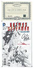 NYCC SDCC DC SUPERMAN BATMAN #2 1:100 SIGNED BY GREG PAK &  JAE LEE ZACK SNYDER