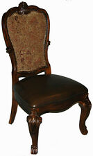 Pair of Upholstered Back Leather Seat  Dining Side Chairs - Old World Style