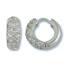 NEW DAINTY BABIE CHILDREN PAVE ENCRUSTED CZ HOOP HUGGIE EARRINGS 10MM