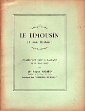 Régionalisme ! Le Limousin et son Histoire ! Rigaud ! 1959 !