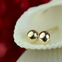 18k yellow gold plated 925 sterling silver bead ball stud earrings 5mm 4mm 3mm