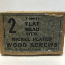 """Vintage Pheoll 2"""" Flat Head Nickel Plated Steel Wood Screws"""