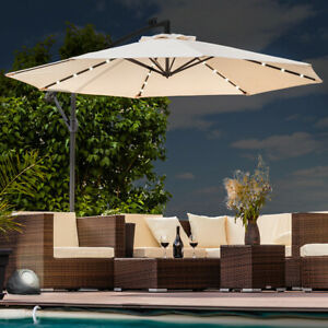 Luxus Sonnenschirm mit LED Beleuchtung Ampelschirm 300 cm Garten Schirm Pavillon