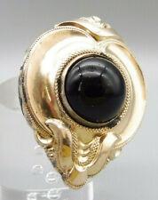 Biedermeier Brosche Silber vergoldet klassisches Design mit großem Onyx polliert