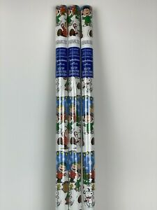 3 New PEANUTS GANG Snoopy WOODSTOCK Snow CHRISTMAS Tree 20sq ft WRAPPING Paper