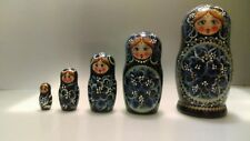 "Vintage Signed Matryoshka Russian Nesting Dolls 5 Pcs Large 7"" Pretty Girl"