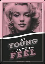 Retro Tin Metal Postcard 'MARILYN MONROE' Mini Sign 10x14cm AS YOUNG AS YOU FEEL