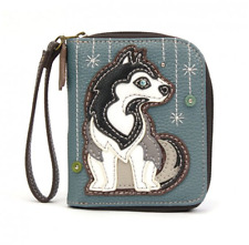 NEW CHALA BLUE GRAY HUSKY DOG ZIPPERED WALLET FAUX LEATHER