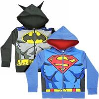 DC SUPERHERO KIDS HOODIE HOODY BATMAN SUPERMAN MOVIE OFFICIAL DRESS UP