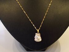 """Enameled Cat Pendant on16"""" Gold Coloured Twisted Curb Chain"""
