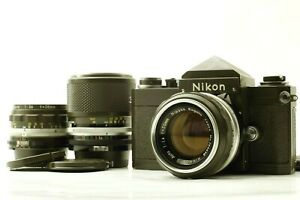 【Rare color! Olive / N.MINT】 Nikon F w/ Nikkor 50mm 28mm 43-86mm 3 Lenses  JAPAN