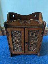 Antique Victorian Oak Smoking Cabinet carved dark wood