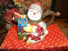 """Fitz And Floyd 1995 Hand Painted """"Frosty Folks"""" Christmas Teapot 19/450 (Nib)"""