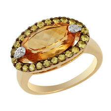 9 Carat Yellow Gold Citrine Cluster Fine Rings