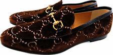 Gucci Mister Velvet Brown GG Logo Leather Gold Horsebit Oxford Loafer Flat G9 10