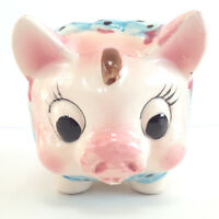 Piggy Bank Westpac Japan Pig Animal Vintage Ceramic Painted Pink Collectible