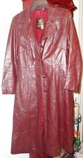8 Ladies Womens 24K Dan Di Modes Trench Coat Glace Lamb Leather Burgundy Lined