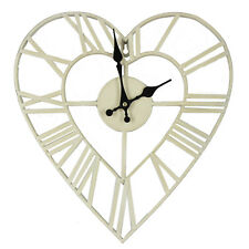 Cream Heart Wall Clock Metal Shabby Chic Vintage Style by HomeTime