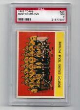 1963 Topps #21 Boston Bruins Team Picture Card, PSA 7 NM, Vintage Hockey 1963-64