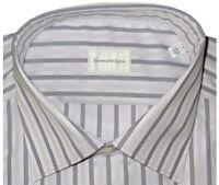 $425 NWT ERMENEGILDO ZEGNA WHITE & LAVENDER SUPERFINE COTTON DRESS SHIRT 43 17