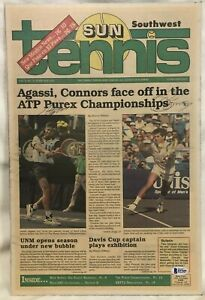 Andre Agassi & Jimmy Connors Signed Tennis Newspaper Cover - Beckett COA Auto