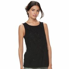 Elle Black floral embroidered sleeveless Blouse Womens  size Medium NEW