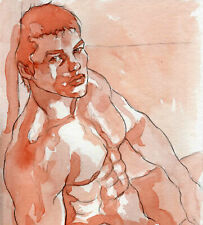 ORIGINAL LARGE MALE NUDE Watercolor - YUREK - by GERMANIA