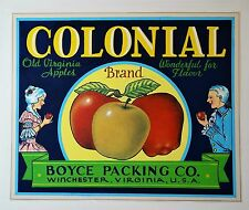 RARE Painting ORIGINAL ARTWORK for Colonial Apple Label 1920 Winchester Virginia