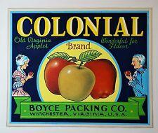 RARE Painting ORIGINAL ARTWORK for Colonial Apple Label 1920 Winchester Virginia