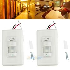 2x Motion Sensor Wall Switch PIR Manual On/Off White Infrared Automatic Switch