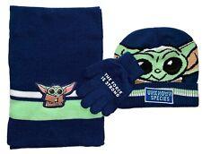 STAR WARS MANDALORIAN Knit Winter Beanie Hat Gloves & Scarf Set Age 4-12 NWT