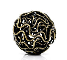 80 Bronze Tone Hollow Twist Ball Wire Beads 18mm