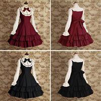 Gothic Womens Vintage Dress Girls Lolita Sweet Puff Balloon Sleeve Cosplay Dress