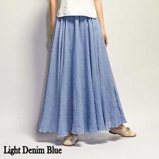 Women Linen Pleated Maxi Long Beach Boho Skirt Dress Vintage Casual Cotton Lady