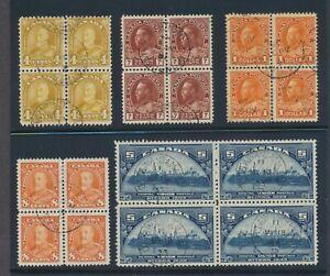 Canada 5 different used blocks George V era including 7c + $1 Admiral