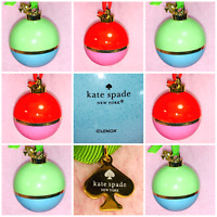 New 7 KATE SPADE PORCELAIN CHRISTMAS ORNAMENTS NY LENOX Red Pink Green Turquoise