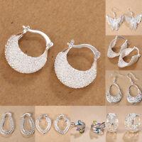 Fashion 925 Silver Elegant Ear Stud Hoop Dangle Earrings Wedding Women Jewelry