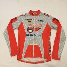 Men's Louis Garneau Jittery Joes LS Cycling Jersey, Gray/Orange, Size Small, GUC