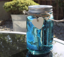 Firefly Mason Jar with LED lights that mimic firefllies - Mercury Blue
