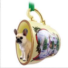 French Bulldog Christmas Ornament Teacup Fawn