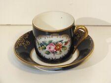 Tasse de collection en porcelaine de Couleuvre - Bleue et or