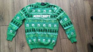 Boys Primark Minecraft Gamer Christmas xmas Jumper Age 9-10 Years fit 8-9 also